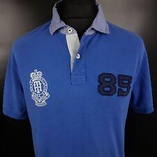 Tommy Hilfiger Mens Polo Shirt MEDIUM Short Sleeve Blue Slim Fit  Cotton