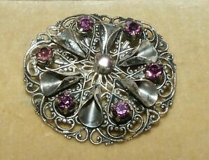 Pretty vintage Czech silver filigree & purple glass rhinestone cone brooch