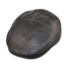 Real Sheep Skin Leather Flat Cap Gatsby Baker Boy Taxten Flat Cap Brown o Black