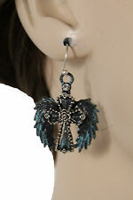 Women Silver Metal Western Fashion Jewelry Earrings Set Angel Wings Cross Blue