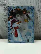 """ACEO Trading Card """"The Snowflake Snowman"""" Artist Unknown Hand Made"""