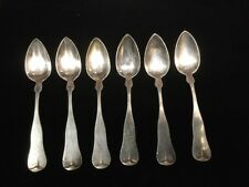 """6 Antique Sterling Coin Silver 6"""" Dessert Spoons J.A. Merrill 100.3gr"""