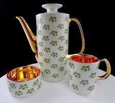 ARKLOW IRELAND 3 PC PATRICIA GOLD SHAMROCK COFFEE POT, CREAMER & OPEN SUGAR BOWL