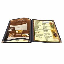 "30PCS Restaurant Menu Cover 8.5x14"" 3 Page 6 View Cafe Club Black Trim Fold Book"