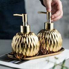 Round Soap Dispenser Free Standing Ceramic Holder Gold, Silver Shampoo Liquid