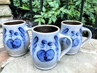 Vtg ROWE POTTERY salt glazed blue stoneware LARGE MUG tankard / stein SET of 3!