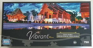 Vibrant 750 Piece Jigsaw Puzzle of Phra Singh Temple New Sealed 2014 Panorama