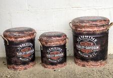Harley Davidson Retro Metal Storage Drum Stool Bar Man Cave Seat Ottoman
