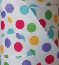 """5 yards 1.5"""" CANDYLAND GUMBALL BUBBLE DOT GROSGRAIN RIBBON HAIRBOW BOW"""