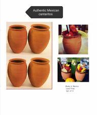 Authentic Jarritos/Cantaritos de Barro. Mexican Ethnic Clay cups. Set of 4