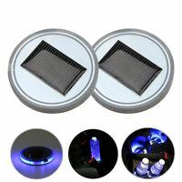 2x Auto Solarenergie Getränkehalter Bottom Pad LED Dekoration Licht Trim Zubehör