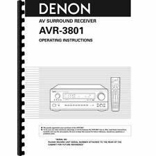 Denon AVR-3801 AV Receiver Owner's/ User Manual (Pages: 72)
