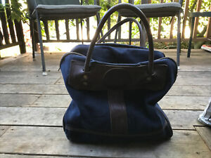 duluth pack leather and canvas tote bag