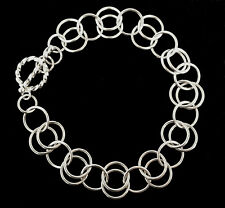 Chainmaille Sterling Silver Circle Bracelet. 7 1/2 Inches.