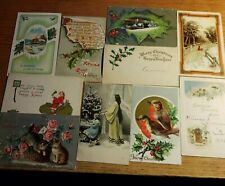 Lot 10 Vintage 1900s Christmas Postcards Embossed Rppc Cat Angel Santa Snow #206