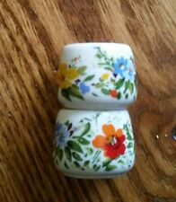 2 Funny Design Ceramic Tiny Small Candle Stick Holders Made W. Germany Flowers