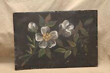Antique Victorian Tin Toleware White Rose Rosa Ruggosi Leaf Decorated Folk Art