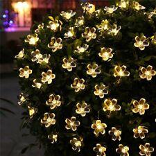 50LED Blumen Solar Lichterkette Außenbeleuchtung Garten Licht Party Deko Warmweß