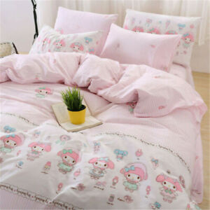 MY MELODY Strip Pattern Pink Cotton Duvet Cover Flat Fitted Sheet Bedding Set