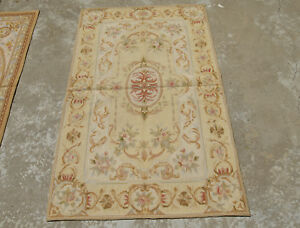VTG French Needlepoint Floral Hand-woven Rug Beige Swirls Light Yellow