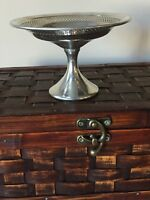 Silver Chrome Compote revere pewter footed bowl dish candy nut bowl vintage Mcm