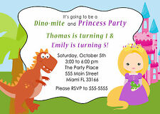 30 Dinosaur Princess Invitation Cards Kids Birthday Party Invite Personalized A1