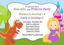30 Dinosaur Princess Invitation Cards Kids Birthday Party Invite Personalized A1
