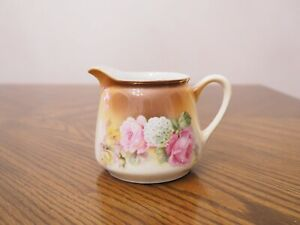 Antique Germany Porcelain Floral Design Brown Shade Gold Trim Creamer Numbered