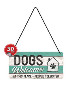 28015 Placa con cadena 10x20 dogs welcome nostalgic art coolvintage