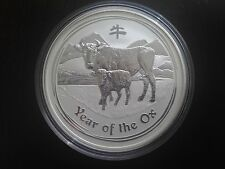 2009 Australia Lunar Ox (Series 2) $8 5oz .999 Pure Silver Bullion Coin Key Date