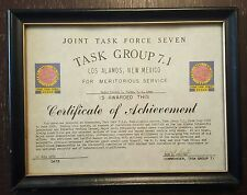 Certificate of Achievement Joint Task Force Seven  Los Alamos REDWING HARDTACK