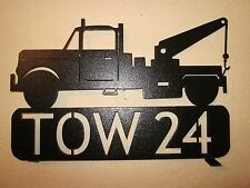 CUSTOM SMALL TOW TRUCK MAILBOX TOPPER (YOUR NAME) TEXTURED BLACK POWDER COAT