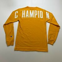 Champion Long Sleeve T-Shirt Size S Yellow Embroidered Spell Out Retro Mens
