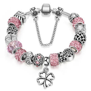 NEW Silver Clover Leaves Tree of Life Pink Murano Beads Charm Bracelet