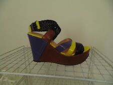 JEAN PAUL GAULTIER 38.5 COLORFUL PLATFORM WEDGE GLADIATOR HEELS USA SIZE 6.5 - 7