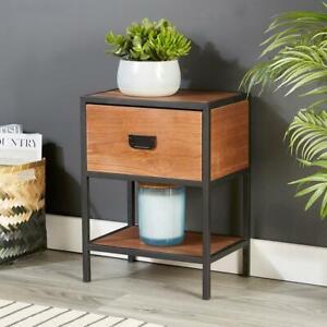 Retro Wooden Dark Brown Side Table or Bedside Cabinet 1 Drawer Seconds