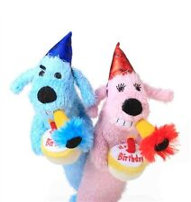 Multipet Loofa Dog Squeaker Birthday Toy 12 inch  (Sold Individually)