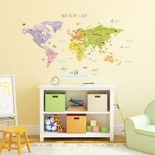 Decowall Colourful World Map Nursery Kids Removable Wall Stickers Decal DMT-1306