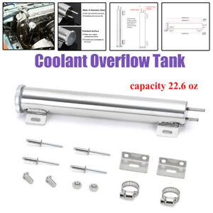Stainless Steel Radiator Coolant Overflow Bottle Recovery Water Tank Reservoir
