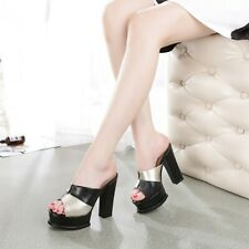 Summer Women Slippers Super High Heels Wedge Black Platform Nightclub Show