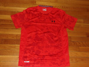 UNDER ARMOUR HEATGEAR SHORT SLEEVE ORANGE FITTED JERSEY MENS LARGE EXCELLENT