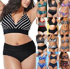 Plus Size Women High Waisted Bikini Set Swimsuit Push Up Bathing Suit Swimwear