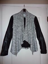 NWT Sebby knit open front jacket with faux leather sleeves, size M