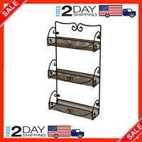Spice Rack Organizer Small Empty Hanging Wall Shelf Mount Stand Metal 3 Tier New
