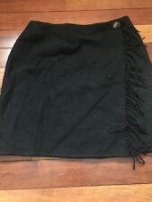 Ralph Lauren Country Women's A Line Skirt Size 10 Black Wool Fringe