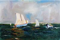Marine Boats Seascape Original OIL PAINTING Canvas 20 x 12