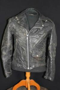 VINTAGE 1970'S  BLACK LEATHER MOTORCYCLE JACKET SIZE SMALL