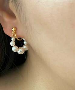 14K Yellow Gold Over Delicate Pearl Huggie Hoop Clip On Earrings Gift For Her