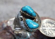 Navajo Mary Lincoln Size 9 1/2 Light Weight Unisex Silver Turquoise Ring