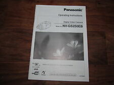 PANASONIC NV-GS250 EB  RARE ORIGINAL UK INSTRUCTION MANUAL BOOK INSTRUCTIONS